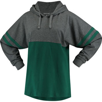 Women's Green Michigan State Spartans Pom Pom Jersey Oversized Fit Long Sleeve Hooded T-Shirt