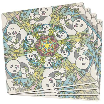 Mandala Trippy Stained Glass Panda Set of 4 Square SandsTone Art Coasters