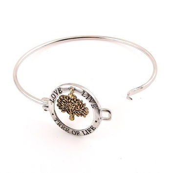 Tree of Life Bangle Bracelet - Gold or Silver