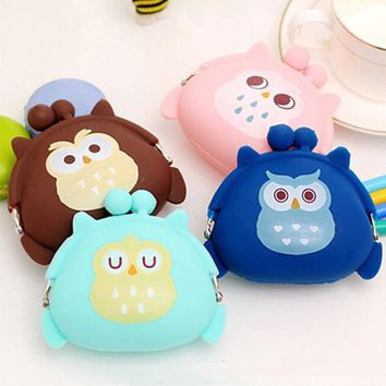 Girl's Cute Cartoon Owl Silicone Jelly Wallet Change Bag Keys Pouch Coin Purse BVNY