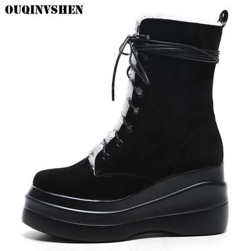 OUQINVSHEN Round Toe Wedges Women's Snow Boots High Heel Platform Ladies Boots 2017 New Winter Fur Wool Women Snow Boots Shoes