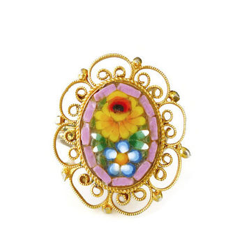 Micromosaic Ring Yellow Daisy Pink Glass Gold Tone Filigree Boho Chic Festival Jewelry