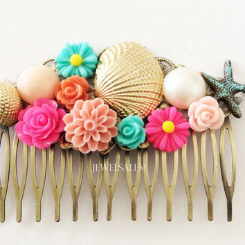 Starfish Hair Comb Beach Wedding Hair Slide Coral Deep Pink Aqua Seafoam Gold Shell Ivory Pearl Bridal Headpiece Colorful Bright