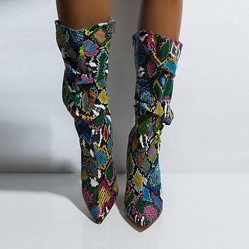 Colorful Snake Skin High Heel Slouch Pleated Thick Boots Pointed Toe