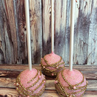 12 Pink and Gold Cake Pops Wedding Favors Birthday Baby Bridal Shower Party Sweets Table Candy Buffet