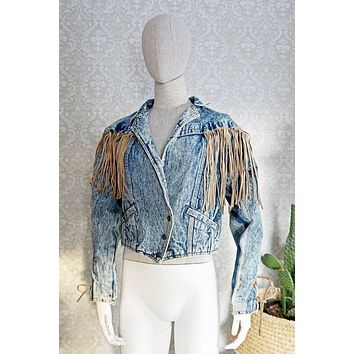 7b047c570 Vintage Acid Wash Fringe Denim Jacket