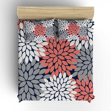 DUVET COVER, BEDDING Comforter, Pillow Sham, Pillow Case, Toddler, Twin, Queen, King, Navy Coral Flower Burst, College Dorm, Girl Bedroom