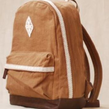 Telegram Romance Crochet Lace Trim Canvas Backpack in Caramel | Sincerely Sweet Boutique