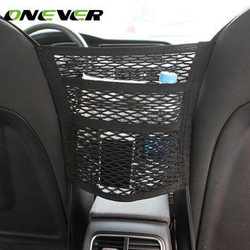 Onever 3-layer Car Seat Side Back Storage Mesh Bag Organizers Car Hanging Bags Cargo Net Purse Pouch for Phone Perfume Book