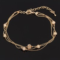 Women Girls Pretty Gold Tone Ball Charm Crystal Rhinestone Ankle Bracelet Anklet
