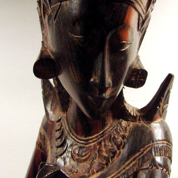 Balinese Ebony Wood Carved Sita in the Mouth of the Demon King
