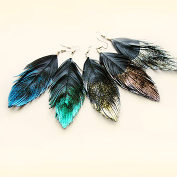 Dangle Earrings - Glitter Faux Leather Feather Earrings - Surgical Steel - Glitter in the Dark
