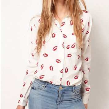 DCCKL72 Fashion Women Button Down OL Lady Shirt Blouse Collared Chiffon Long Sleeve Kiss Printed Blusa Tops