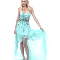 2013 Homecoming Dresses - Mint Sequin High-Low Strapless Dress - Unique Vintage - Prom dresses, retro dresses, retro swimsuits.