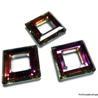 Swarovski 14mm Crystal Volcano Faceted Square Pendant Qty 3 Beads