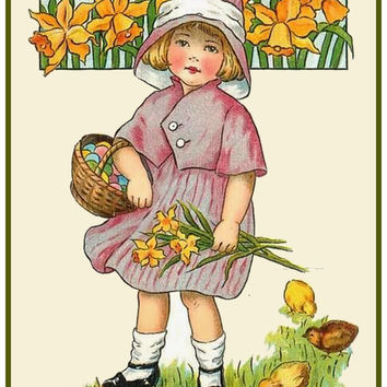 Vintage Easter Young Girl with Spring Flowers and Basket Counted Cross Stitch or Counted Needlepoint Pattern