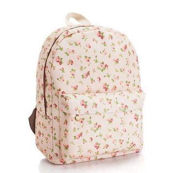 ONETOW Day-First? Sweet Floral Printed Canvas Lightweight College Backpack