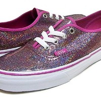 Women's Vans Authentic IRIDESCENT GLITTER FEST, US Size 8.5, Fuchsia