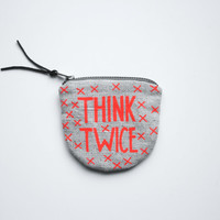 THINK TWICE/ fabric money wallet with hand printed money saving print neon red orange