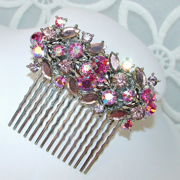 Brilliant Pink Rhinestone Wedding Hair Comb Vintage Jewelry Hairpiece Elegant Bohemian Bride Aurora Borealis Headpiece Jeweled Accessory