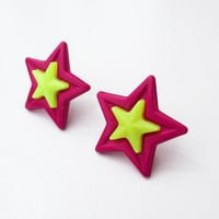 Purple and Yellow Star Earrings Neon Purple Yellow Big Studs Posts Star Jewelry Bright Star Earrings CELEBRATION SALE! Buy 1 Get 2 Free