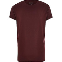 River Island MensDark red crew neck t-shirt