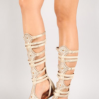 Jeweled Snake Zip Up Beige Gladiator Flat Sandal