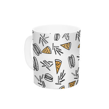 "Vasare Nar ""Burgers & Pizza"" Food Ceramic Coffee Mug"