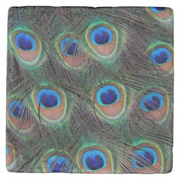 Peacock Feather Pattern Stone Coaster