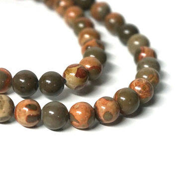 Safari Jasper gemstone beads, 8mm round bead, full strand (1065S)