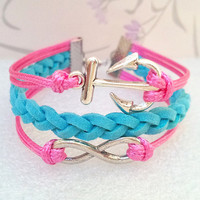 Infinity Bracelet - Anchor Bracelet-Rose Wax Cords and Lake Blue Braid bracelet.