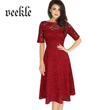 VEEKLE Vintage Delicate Lace Dress Office Half Sleeve A-Line Robe Femme Summer Vestidos De Renda Chic Cool Skate Red Grey Blue