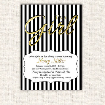 Black and white girl baby shower invitation black white stripes gold foil or glitter baby shower invite instant download digital