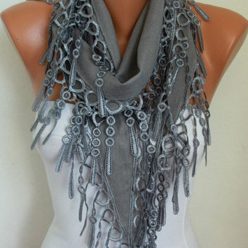 Gray Scarf  Shawl -  Pashmina Scarf  - Lace Edge - fatwoman