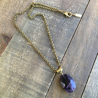 "Amethyst ""Healing"" Gemstone Pendant Chain Necklace"