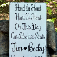 Wedding Signs Wedding Decor Personalized Wooden Wedding Gift Hand In Hand On This Day Adventure Starts Reception Decoration Bridal Save Date