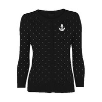 Anchors Away Polka Dot Rockabilly Cardigan (Plus Size)