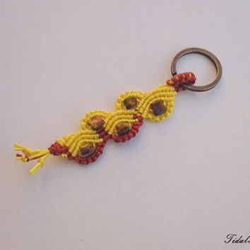 Yellow - copper keyring, bohemian keychain, keyholder, knotted keyring, yellow waves, summer accessories, summer keyring, keychain for women