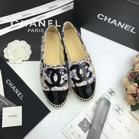 """Chanel"" Women All-match Casual Fashion Flower Print Weave Fisherman Shoes Loafer Flats Shoes Single Shoes"