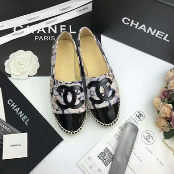 """""""Chanel"""" Women All-match Casual Fashion Flower Print Weave Fisherman Shoes Loafer Flats Shoes Single Shoes"""