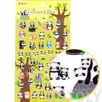 Baby Panda Bear Shaped Animal Themed Puffy Stickers for Scrapbooking and Decorating