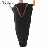Fashion Women Cotton Large Long Dress 2016 Summer New style short Sleeve