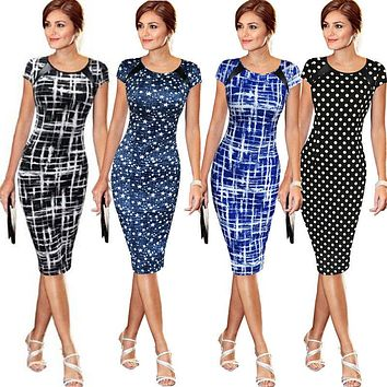 Fashion Women Short Sleeve Bodycon Casual Party Evening Cocktail Mini Dress US