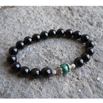 Intuition and Patience, Genuine Malachite and Onyx Mala Bracelet