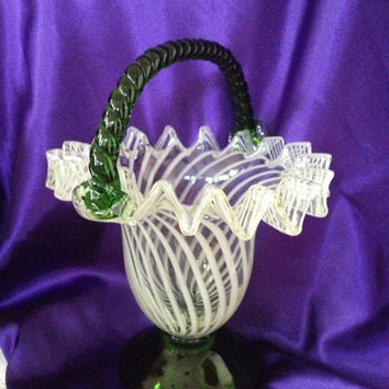 Vintage Art Glass Basket Folded Ruffles Frosted Spiraled Pinwheel Stripes Hand Blown Applied Handles Emerald Green