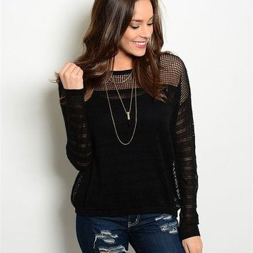 Black Knitted Sheer Sweater