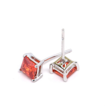 Orange Zircon Earrings, Sterling Silver and Orange Zircon Earrings, Square Orange Zircon Stud Earrings, Orange Gemstone Earrings
