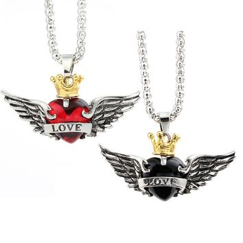 Romantic lovers' Pendant Necklaces Wings Crown LOVE Red & Black Crystal Heart Statement Necklace for Women Gothic Jewelry