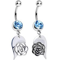 Aqua Gem Garden Rose Joined Heart Best Friends Dangle Belly Ring Set
