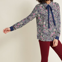 Enviable Occupation Button-Up Top in Print Mix